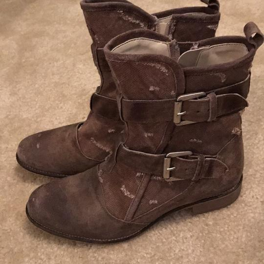 Boutique 9 Buckles Canvas Leather Taupe Boots Image 5