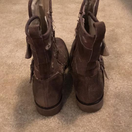 Boutique 9 Buckles Canvas Leather Taupe Boots Image 6
