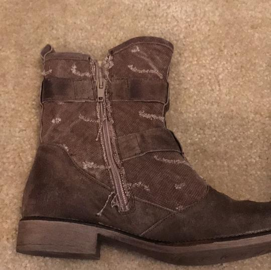 Boutique 9 Buckles Canvas Leather Taupe Boots Image 7