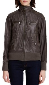 Andrew Marc Leather Grey Leather Jacket