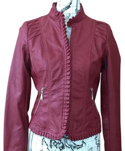 Jou Jou Vegan Leather Rusty Ruffles Ruffled Red Leather Jacket