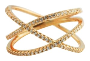 Bullion & Diamond Co. Pave Crisscross Ring, Rose Gold Ring, Pave Layered Ring