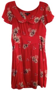 American Eagle Outfitters short dress Red Peter Pan Collar Floral Empire Waist on Tradesy