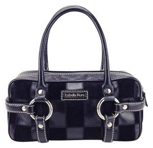Isabella Fiore Patchwork Checkered Leather Satchel in Black