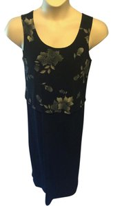 Black Maxi Dress by Coldwater Creek Slinky Travel Floral Sheath