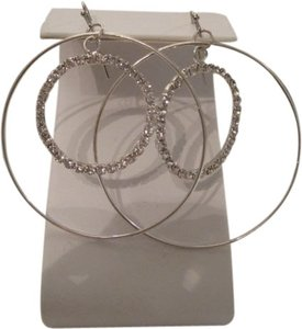 Charter Club CHARTER CLUB SILVER TONE DOUBLE HOOP EARRINGS WITH RHINESTONES
