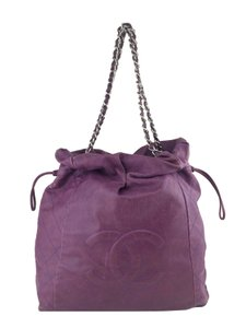 Chanel Silver Hardware Logo Tote in Purple
