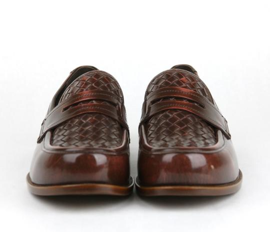 Bottega Veneta Brown/Red Leather Woven Loafer Dress It 44.5/ Us 11.5 298734 6323 Shoes Image 2
