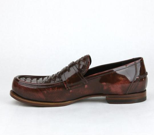 Bottega Veneta Brown/Red Leather Woven Loafer Dress It 44.5/ Us 11.5 298734 6323 Shoes Image 6