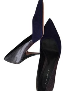 Elie Tahari Royal blue suede and grey textured leather Pumps