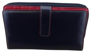 Lodis Lodis Black and Red Organizer Zippy Wallet with Contrast Stitching