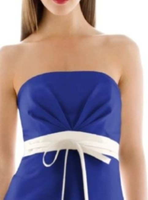 Alfred Sung Cocktail Length Satin Strapless Dress Image 1