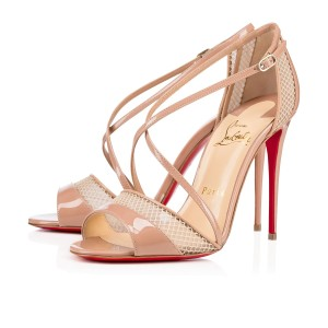 Christian Louboutin Leather Mesh Red Heel Nude Pumps