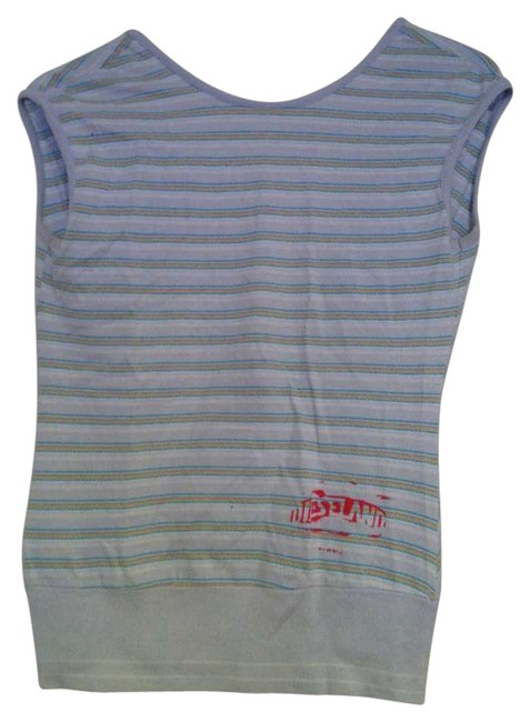 Diesel Top Light Blue with turquoise, yellow, brown stripes