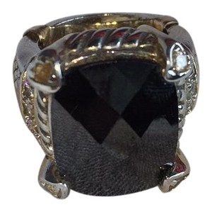 Large Radiant Black Stone & Sterling Silver Ring