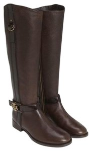 Tory Burch Elina Riding Tall Leather Gold Tone Hardware Coconut Boots