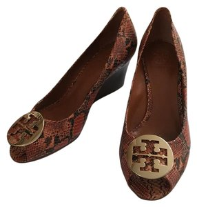 Tory Burch 10 Snakeskin Burnt Orange Wedges