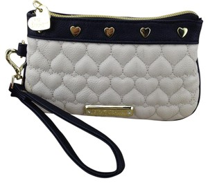 Betsey Johnson Be Mine Hearts Clutch Bone Wristlet in Black and Bone/Cream