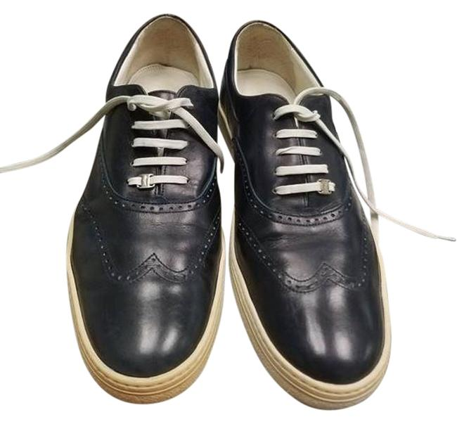 Item - Navy Blue Leather Sport Casual B Sneakers Size US 10 Narrow (Aa, N)