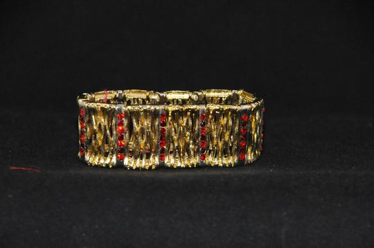 HP Italy Gold Color Bangle W/ Bark Embellishments Red Crystals HP Italy Image 1