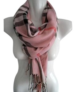 Cashmere Pashmina Group Pink* Wool Cashmere Checkered Scarf