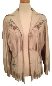 Chris Line Originals 1950's Leather Western Fringe White Leather Jacket