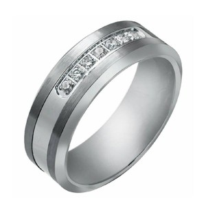 .20ctw Tungsten With Diamond Wedding Band