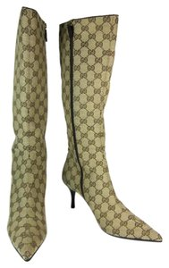 Gucci Beige Tall Leather Gg Logo Boots