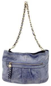 B. Makowsky Distressed Chain Link Blue Leather Zipper Shoulder Bag