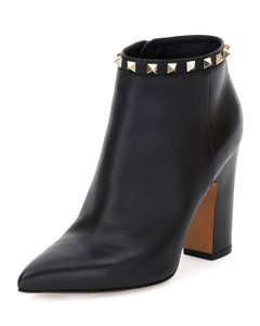 Valentino Calfskin Leather Ankle Black Boots