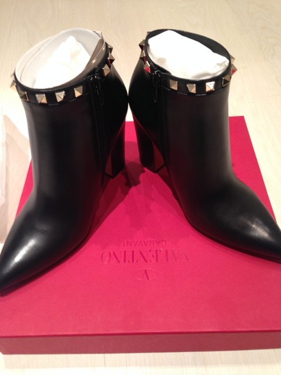 Valentino Calfskin Leather Ankle Black Boots Image 3