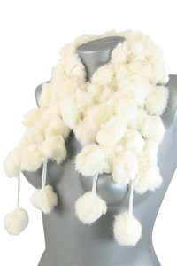 Genuine Fur Pom Pom Scarf Wrap