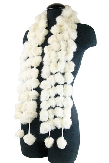 Other Genuine Fur Pom Pom Scarf Wrap Image 1