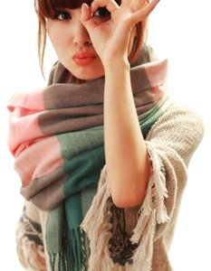 Cashmere Pashmina Group Pink/Green* Wool Cashmere Checkered Scarf