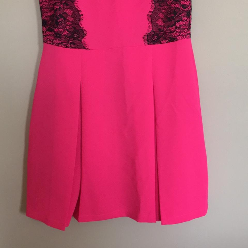 Collective Concepts Pink and Black Hot with Lace Knee Length ...