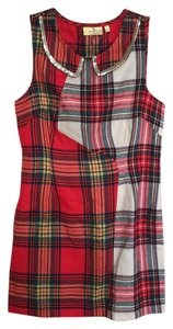 Vera Wang short dress Red gold Plaid Flannel Peter Pan Collar Sequin Autumn on Tradesy