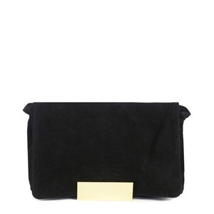 Donatienne Classic Suede Fall/winter Gold Hardware Black Clutch