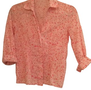 Ann Taylor Button Down Shirt Pale peach mini floral