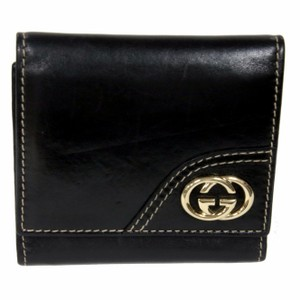 Gucci Gucci Noir Soft Leather Gg Gold Monogram Travel Wallet