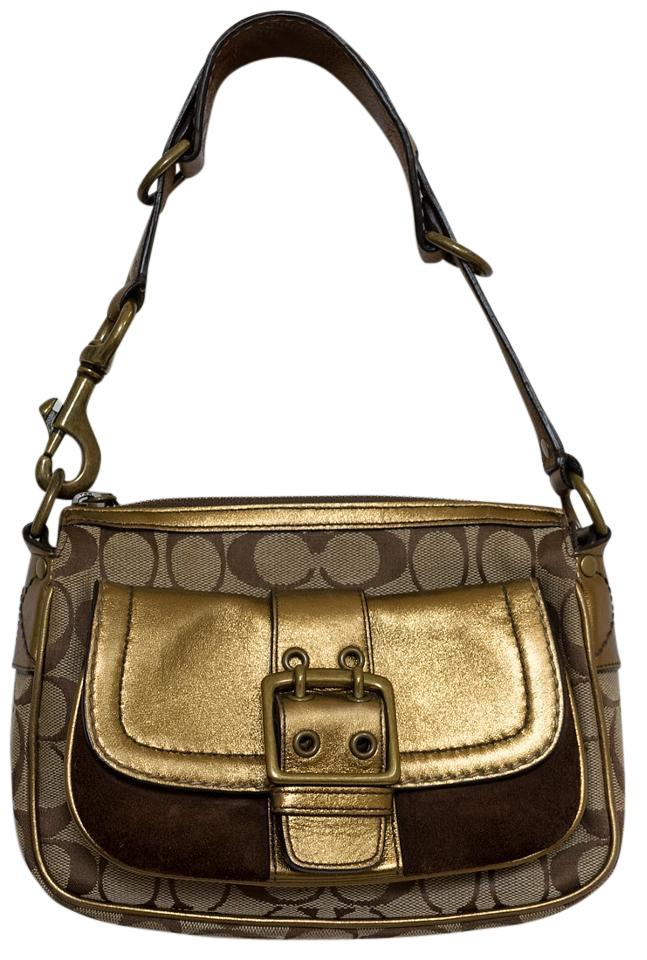 f275b801b1bc Coach Special Limited Edition Hobo Metallic Gold Brown   Tan Jacquard Suede  Leather Baguette