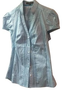 Express Button Down Shirt Turquoise and white