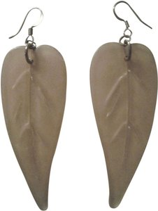 FREE SHIP Big VTG Handmade Lucite LEAF EARRINGS Pink Beige NWT