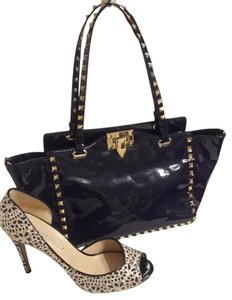 Valentino Patent Leather Tote in Marine Blue
