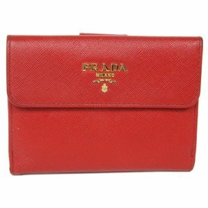 Prada Prada Saffiano Vivid Red Leather Bi Fold Card Travel Wallet