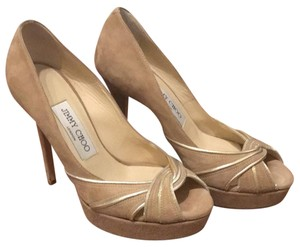 Jimmy Choo Beige suded Platforms