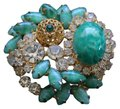 Other Abstract Vintage Green Gold and Rhinestone Brooch Image 0