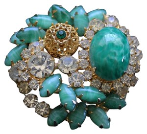 Other Abstract Vintage Green Gold and Rhinestone Brooch