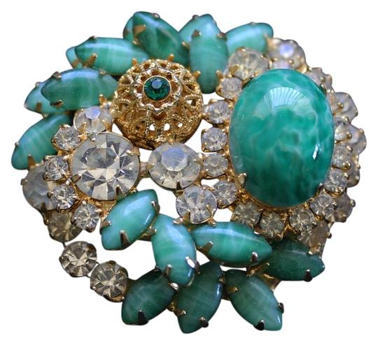 Preload https://img-static.tradesy.com/item/19693605/green-gold-clear-abstract-vintage-and-rhinestone-brooch-0-1-540-540.jpg