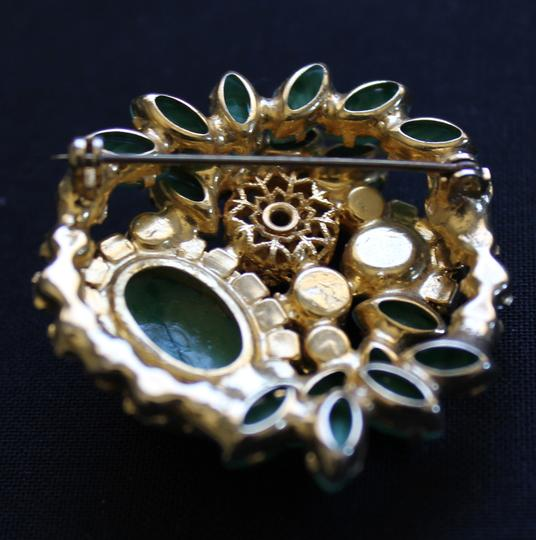 Other Abstract Vintage Green Gold and Rhinestone Brooch Image 1