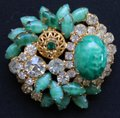 Other Abstract Vintage Green Gold and Rhinestone Brooch Image 5
